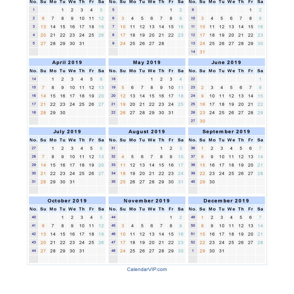 2019 Year Calendar Template Excel With Blank Printable In PDF Word