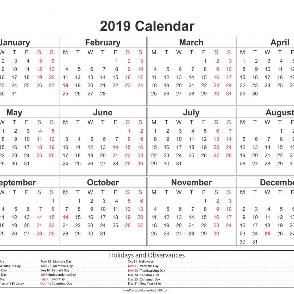 2019 Year Calendar Template Excel With Free Printable