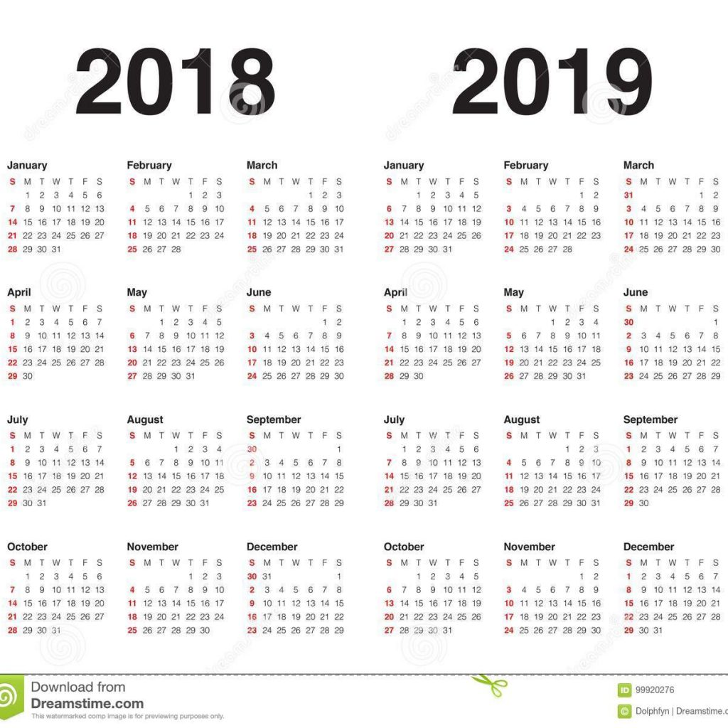 2019 Year Calendar To Print With 2018 Vector Stock Illustration Of