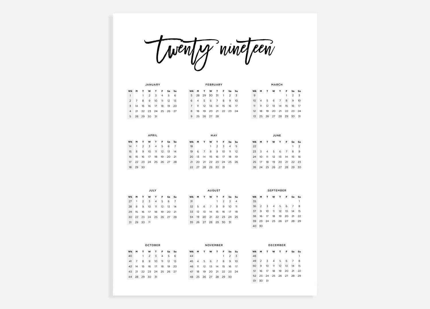 2019 Year Calendar To Print With A3 Week Numbers Etsy