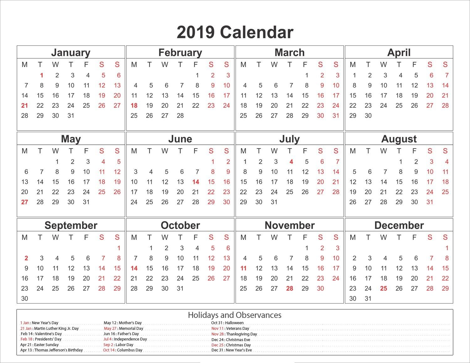 2019 Year Calendar To Print With Yearly Printable Calendar2019