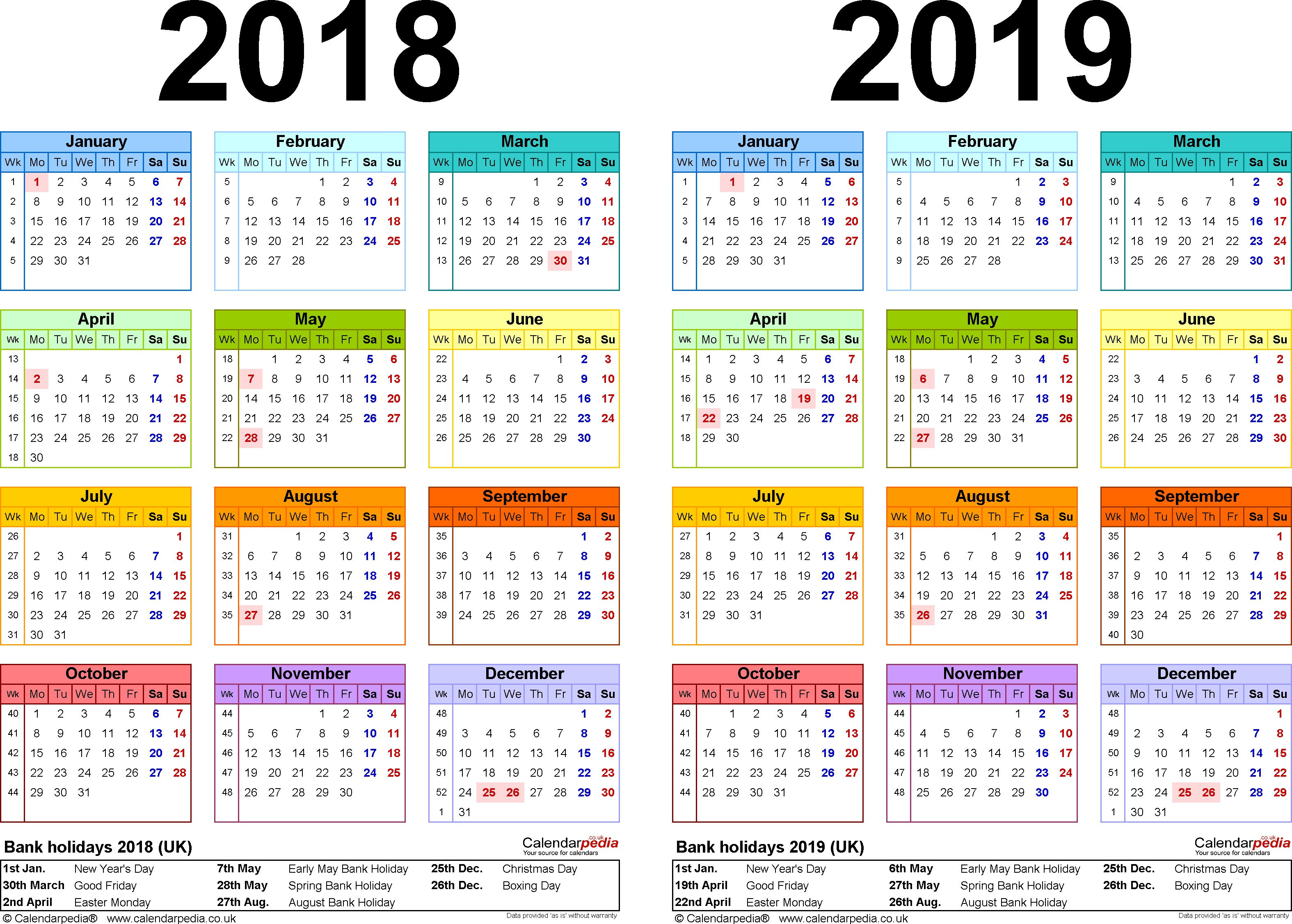 2019 Year Calendar Uk Printable With 2018 Manqal Hellenes