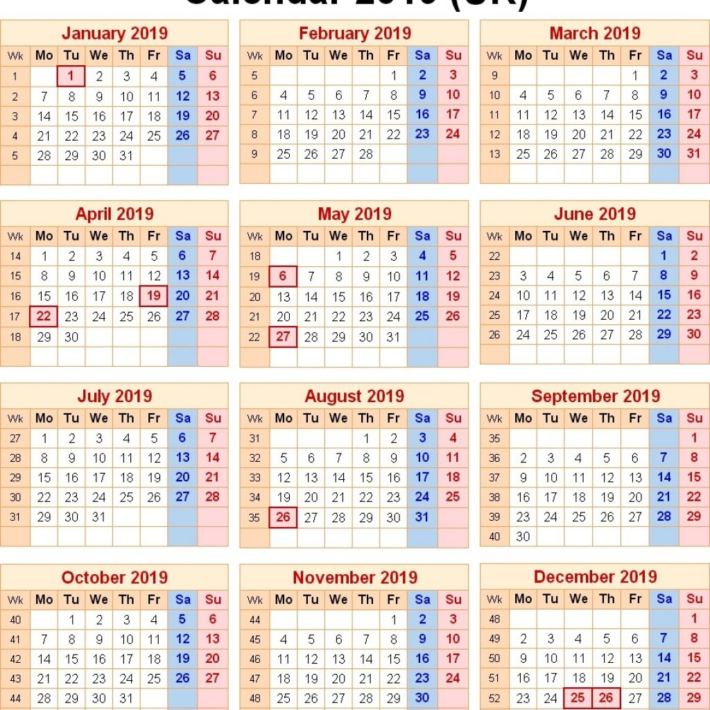 2019 Year Calendar Uk Printable With Blank UK United Kingdom Holidays