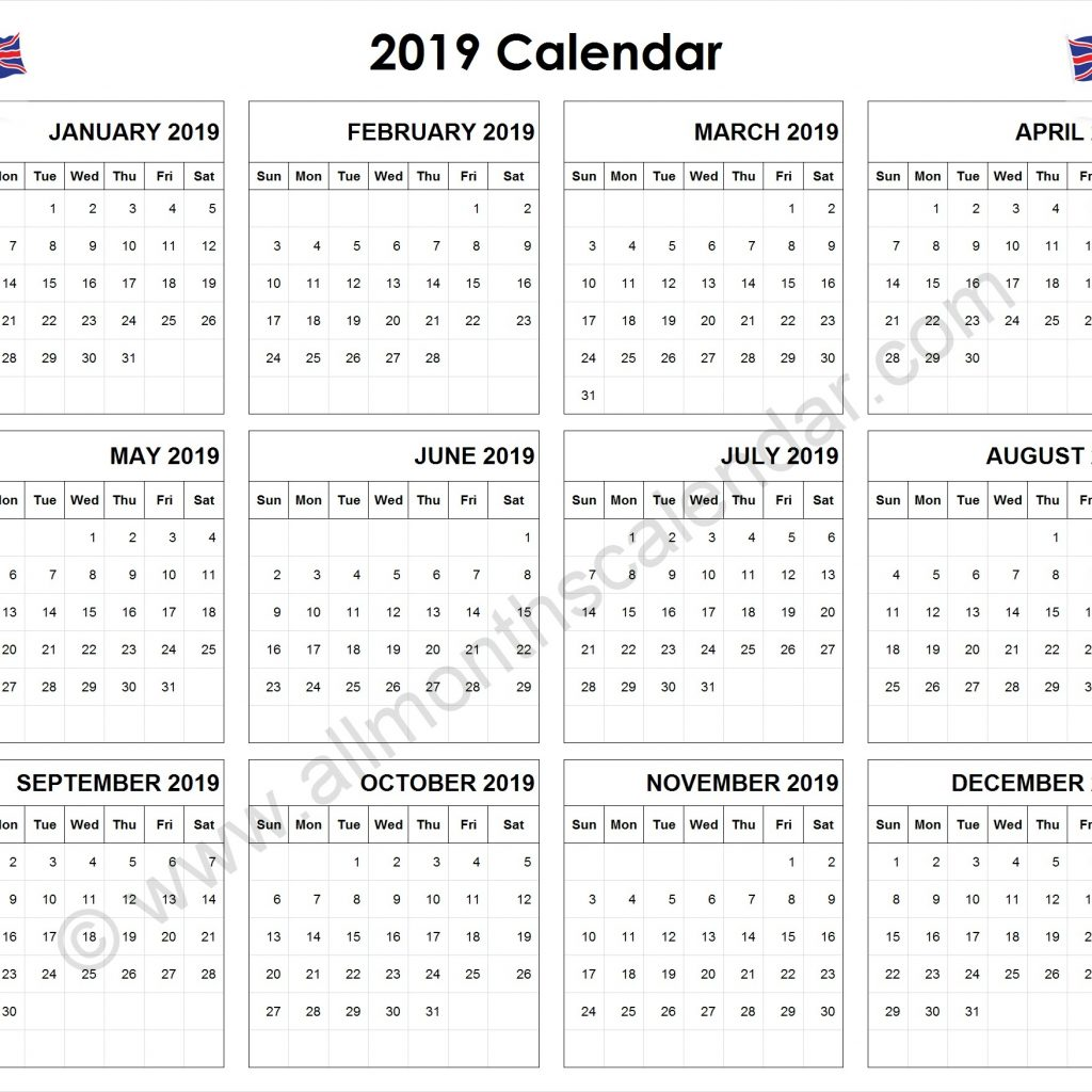 2019 Year Calendar Uk Printable With Yearly UK 12 Month