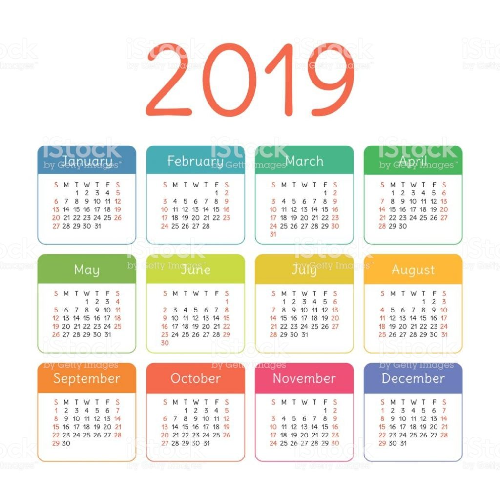 2019 Year Calendar With Weeks Colorful Vector Template Week Starts On Sunday