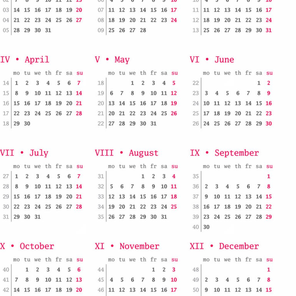 2019 Year Calendar With Weeks For Week Numbers On White Vector Image