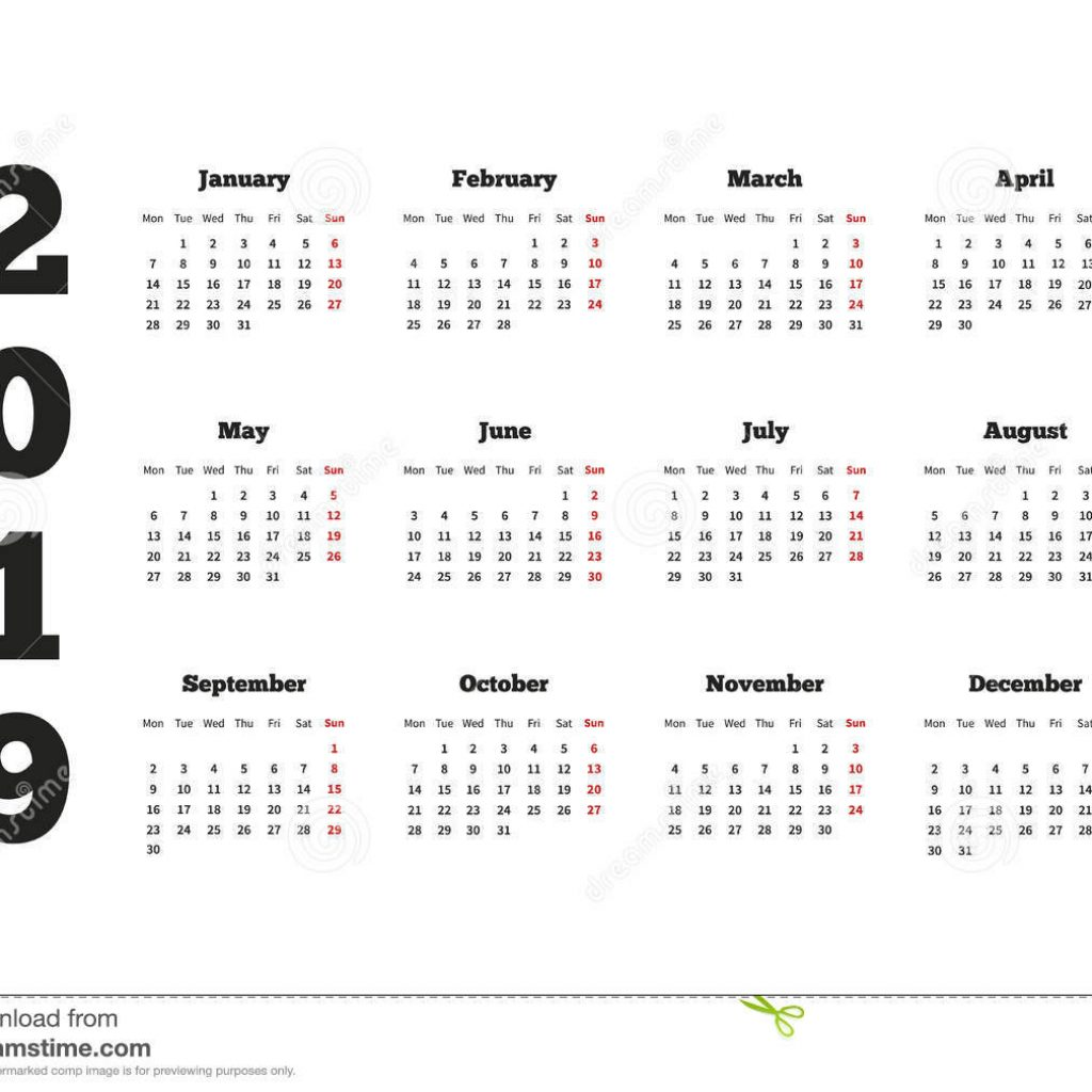 2019 Year Calendar With Weeks On Week Starting From Monday A4 Sheet Stock