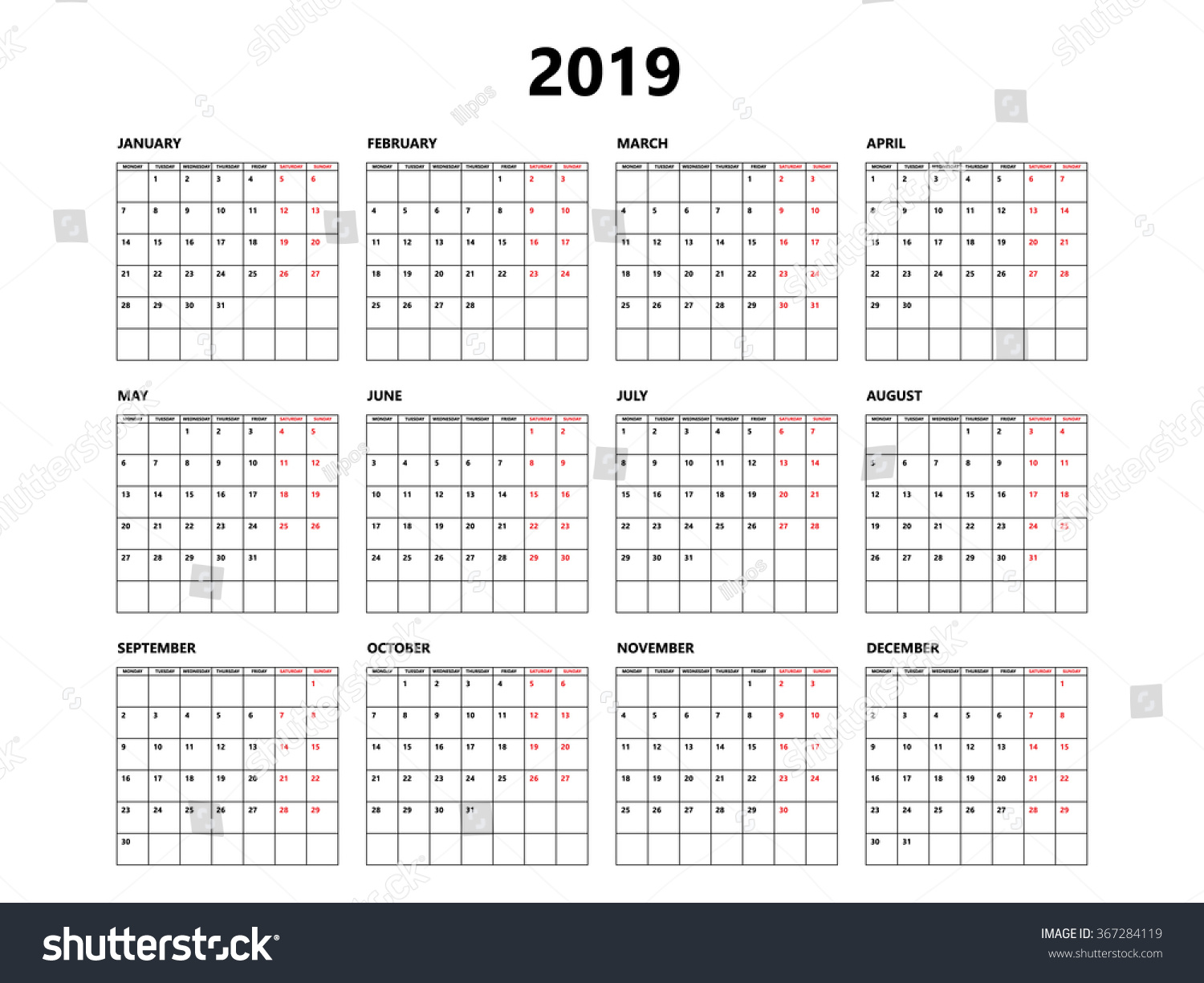 2019 Year Calendar With Weeks Simple Style Grid Stock Vector Royalty Free