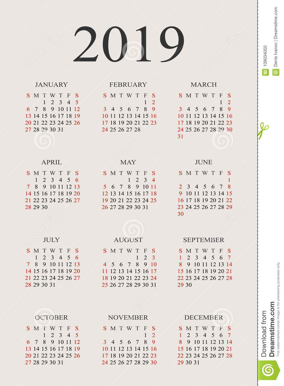 2019 Year Calendar With Weeks Vector Design Template Stock