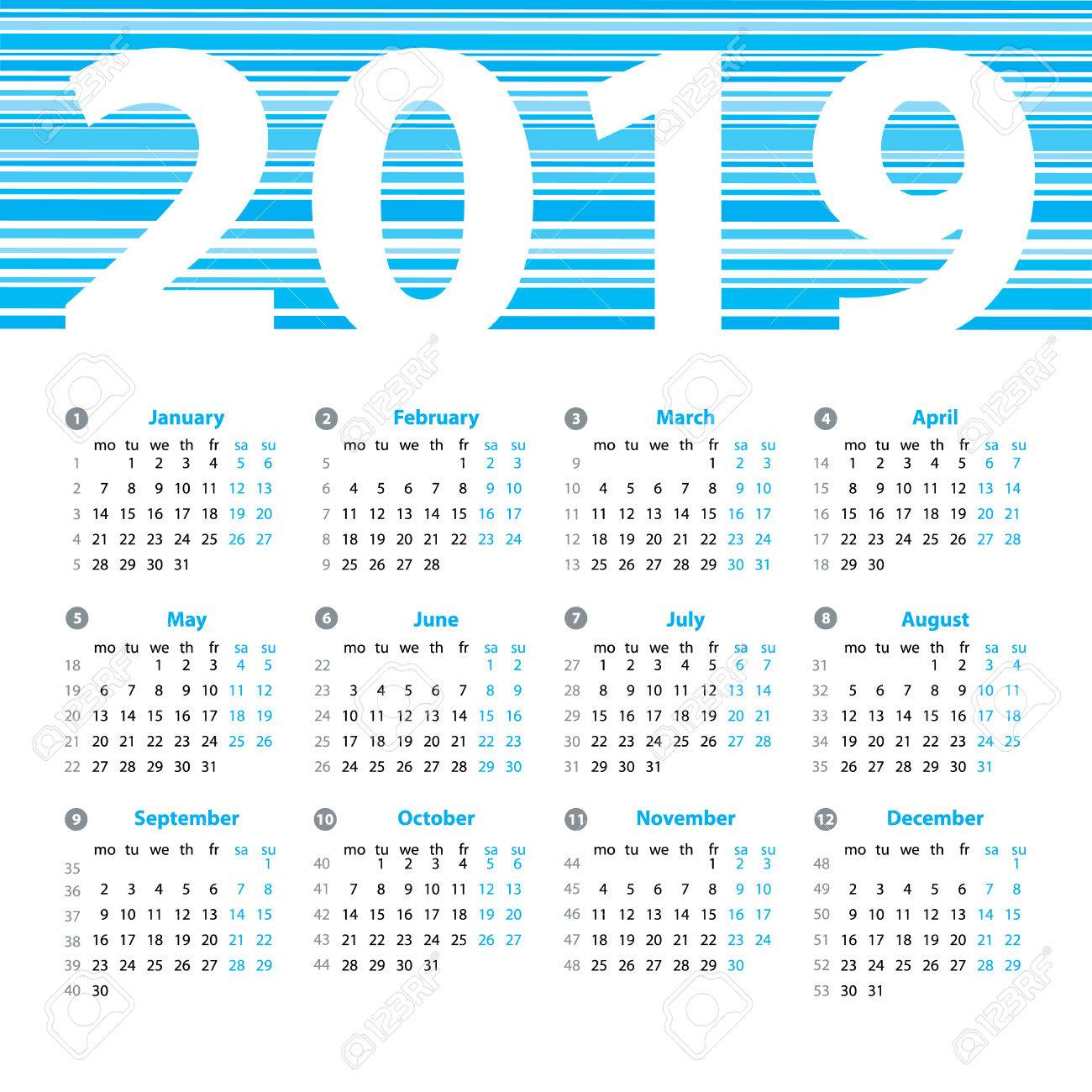 2019 Year Calendar With Weeks Vector Design Template Week Numbers And