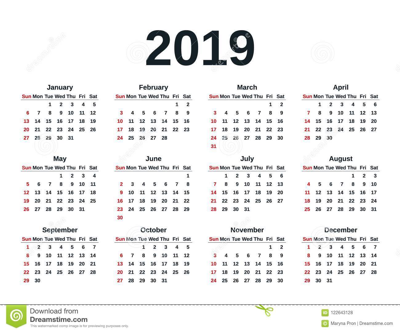2019 Year Calendar With Weeks Vector Illustration Template Planner Stock