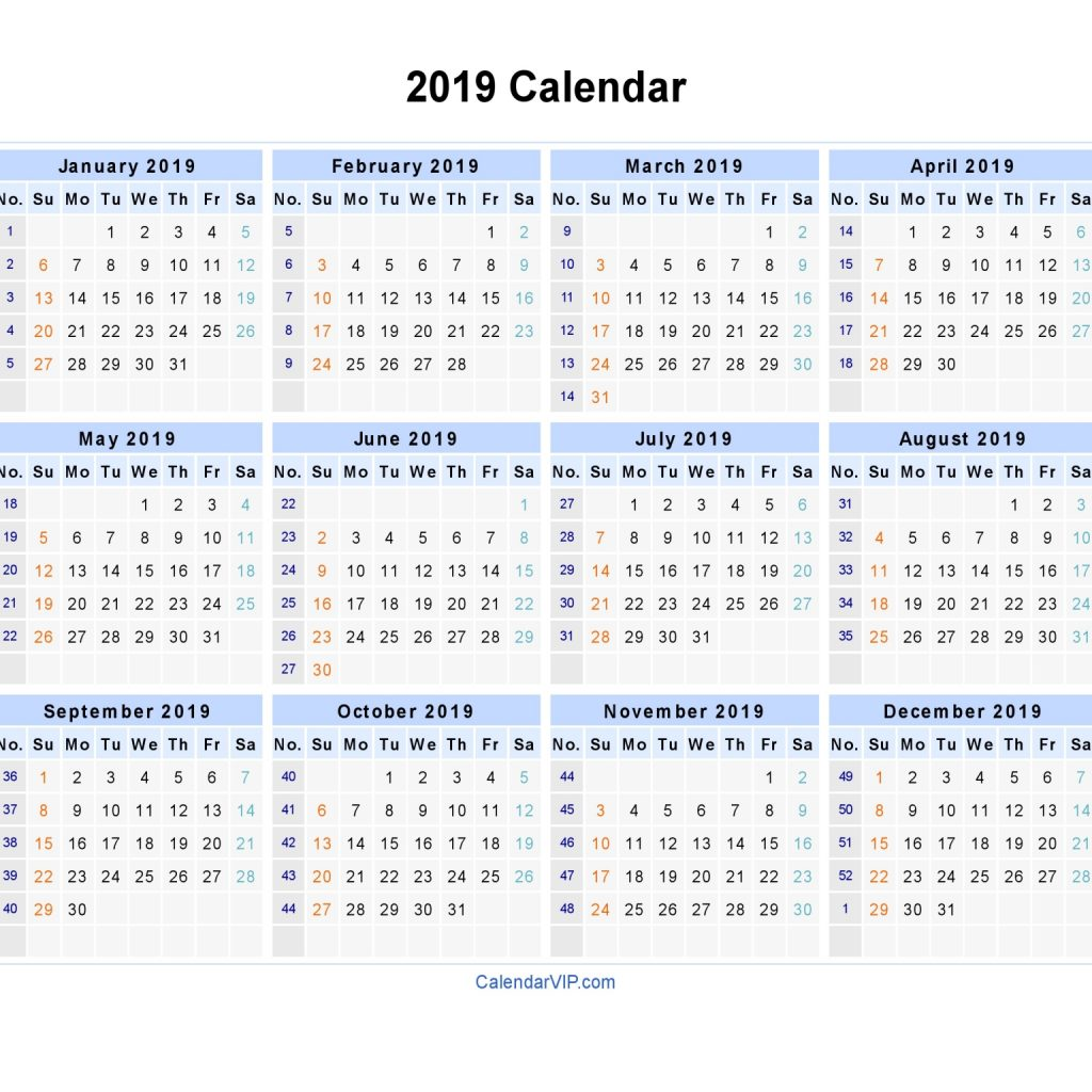 2019 Year Calendar Word With Blank Printable Template In PDF Excel