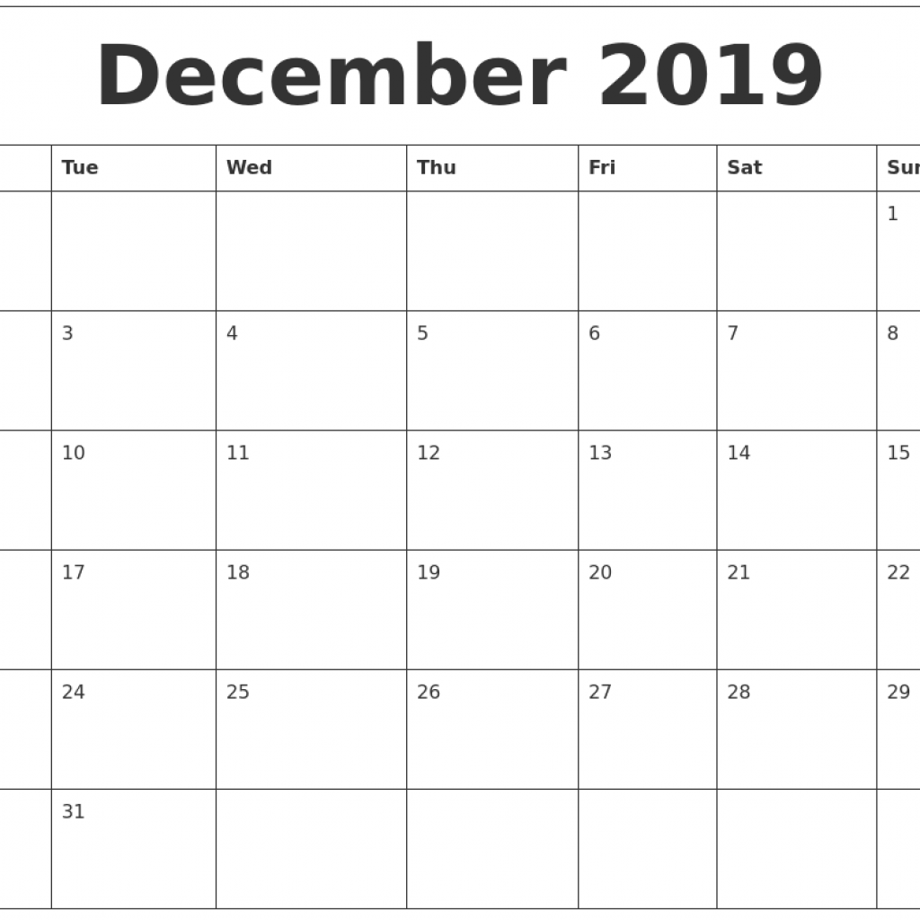 2019 Year Calendar Word With December