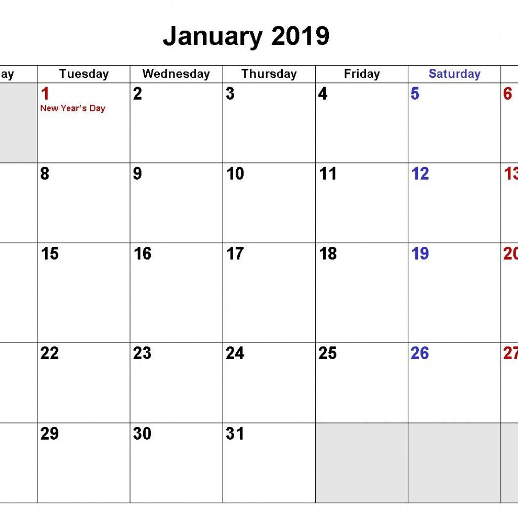 2019 Year Calendar Word With January Download In Excel PDF Formats Monthly