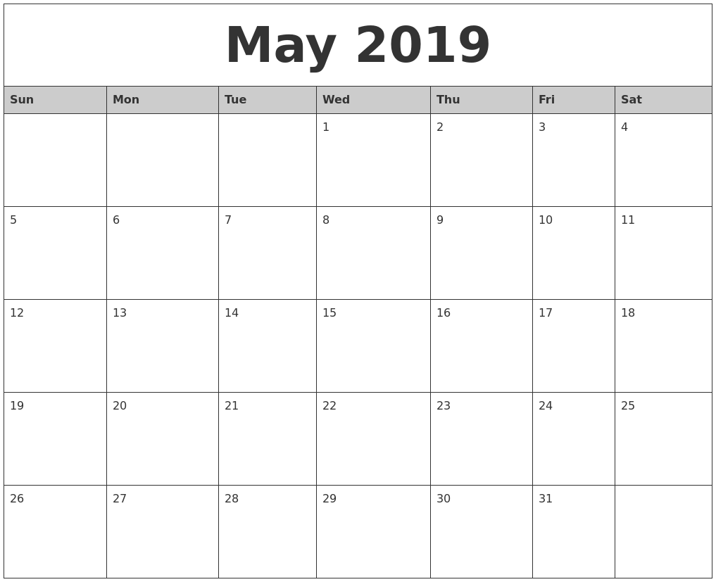 2019 Year Calendar Word With May Monthly Printable
