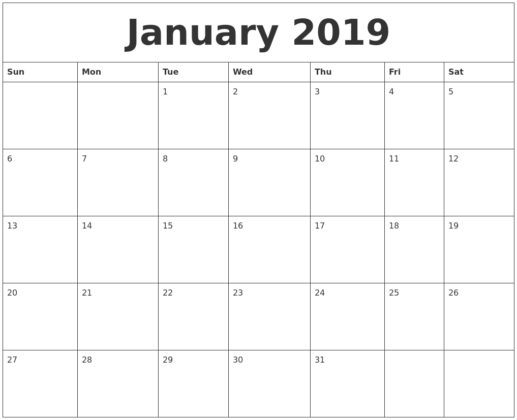 2019 Year Calendar Word With Print Free Printable Templates In Excel And