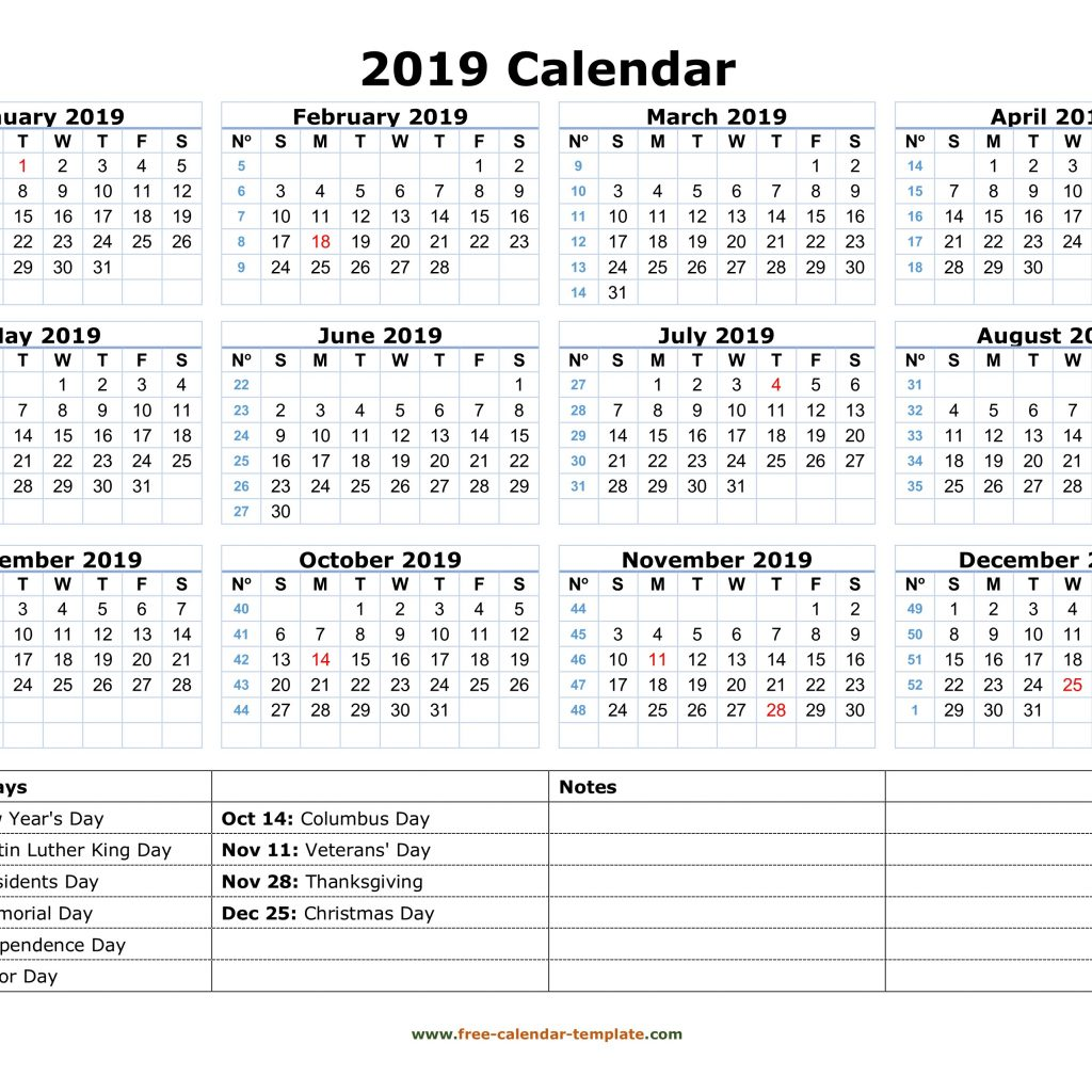 2019 Year Calendar Word With Printable Yearly