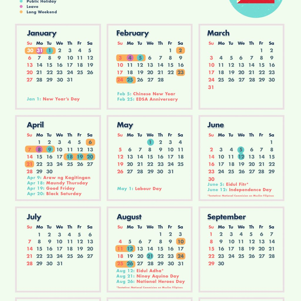 2019 Year Long Calendar With 10 Weekends In The Philippines Cheatsheet