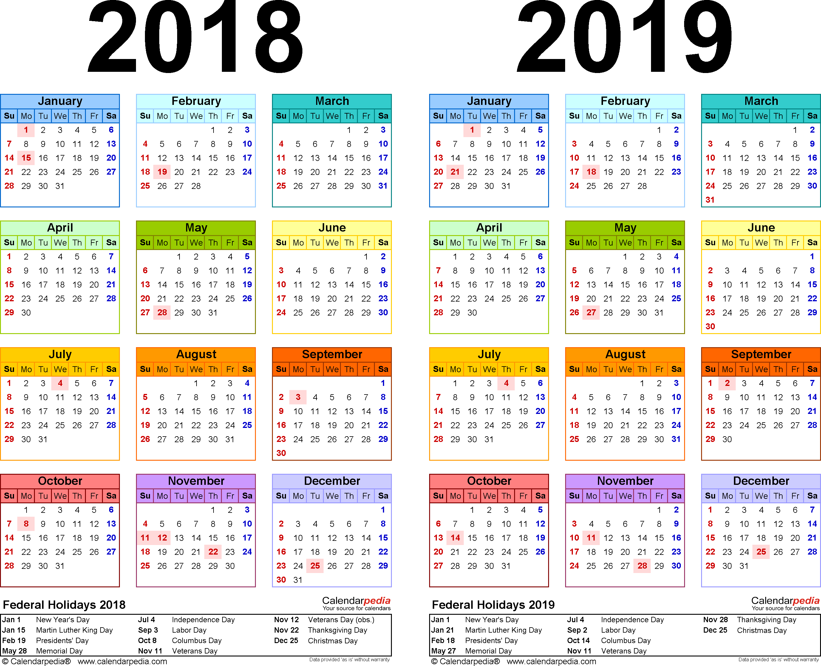 2019 Year Long Calendar With 2018 Free Printable Two PDF Calendars