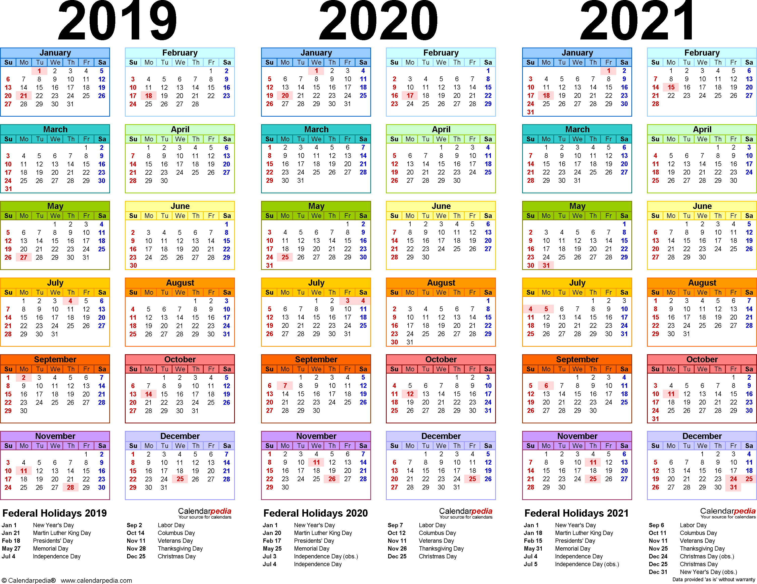2019 Year Long Calendar With 2020 2021 4 Three Printable PDF Calendars