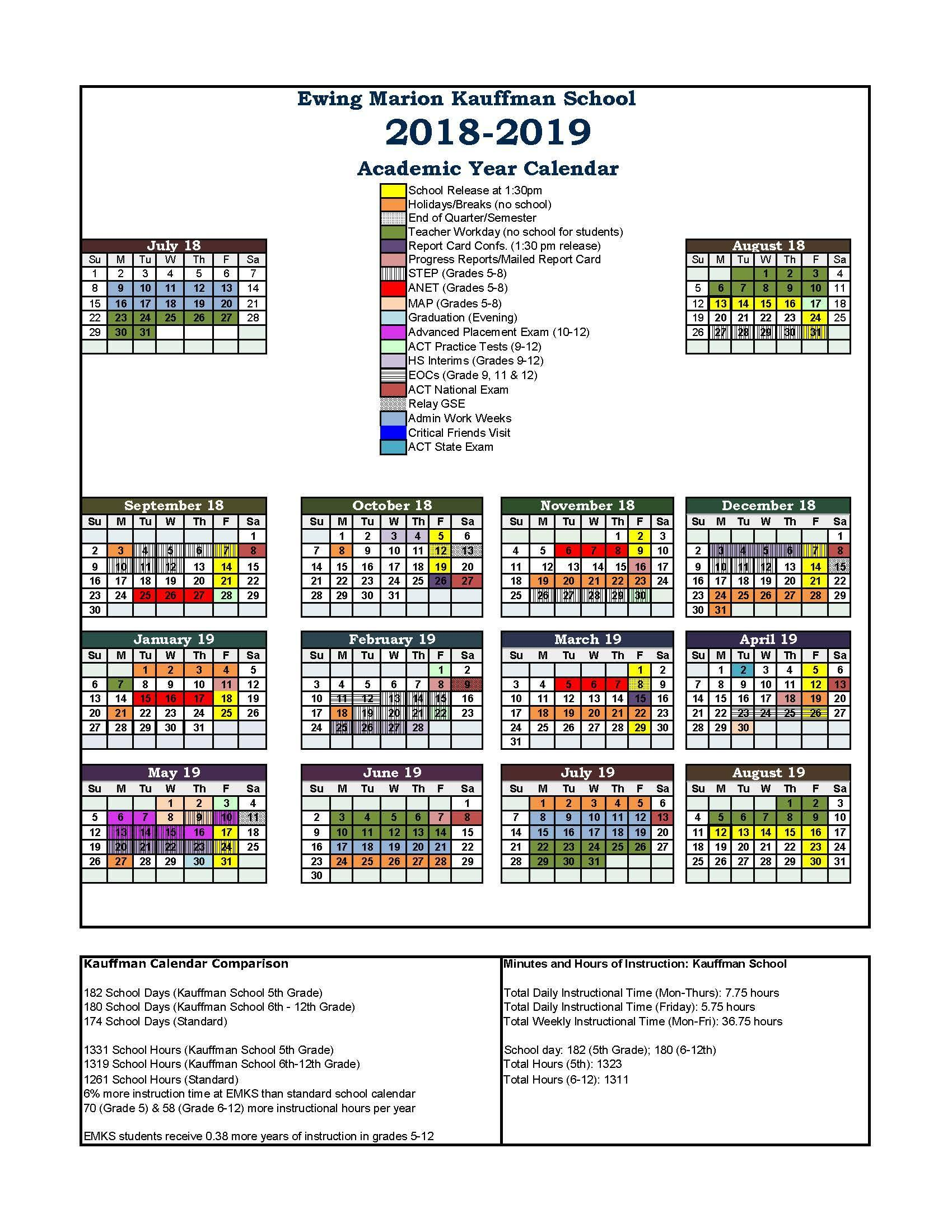 2019 Year Long Calendar With Student And Parent Resources Ewing Marion Kauffman School