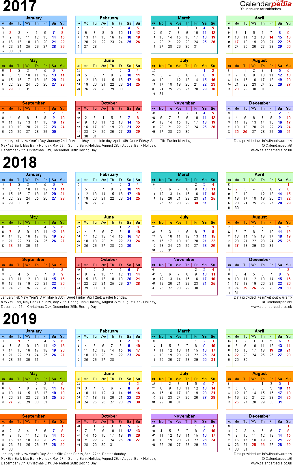 2019 Year Long Calendar With Three Calendars For 2017 2018 UK PDF