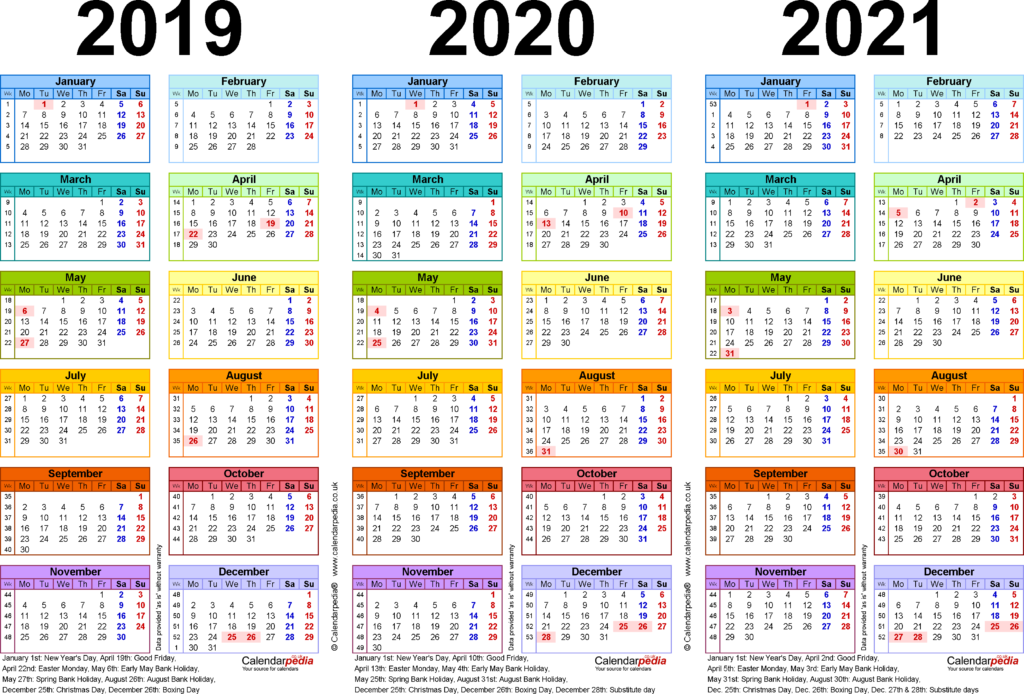 2019 Year Long Calendar With Three Calendars For 2020 2021 UK Excel