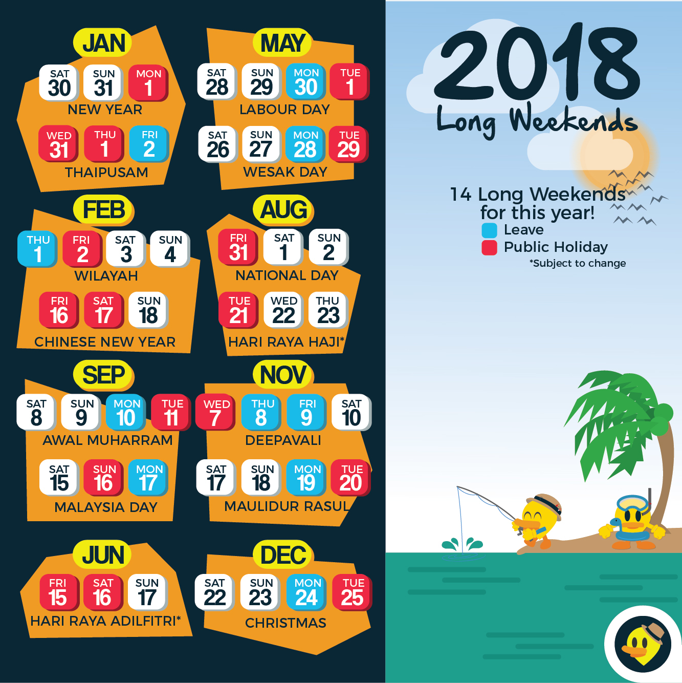 2019 Year Long Calendar With Updated School Holiday 12 Weekends For Malaysia In