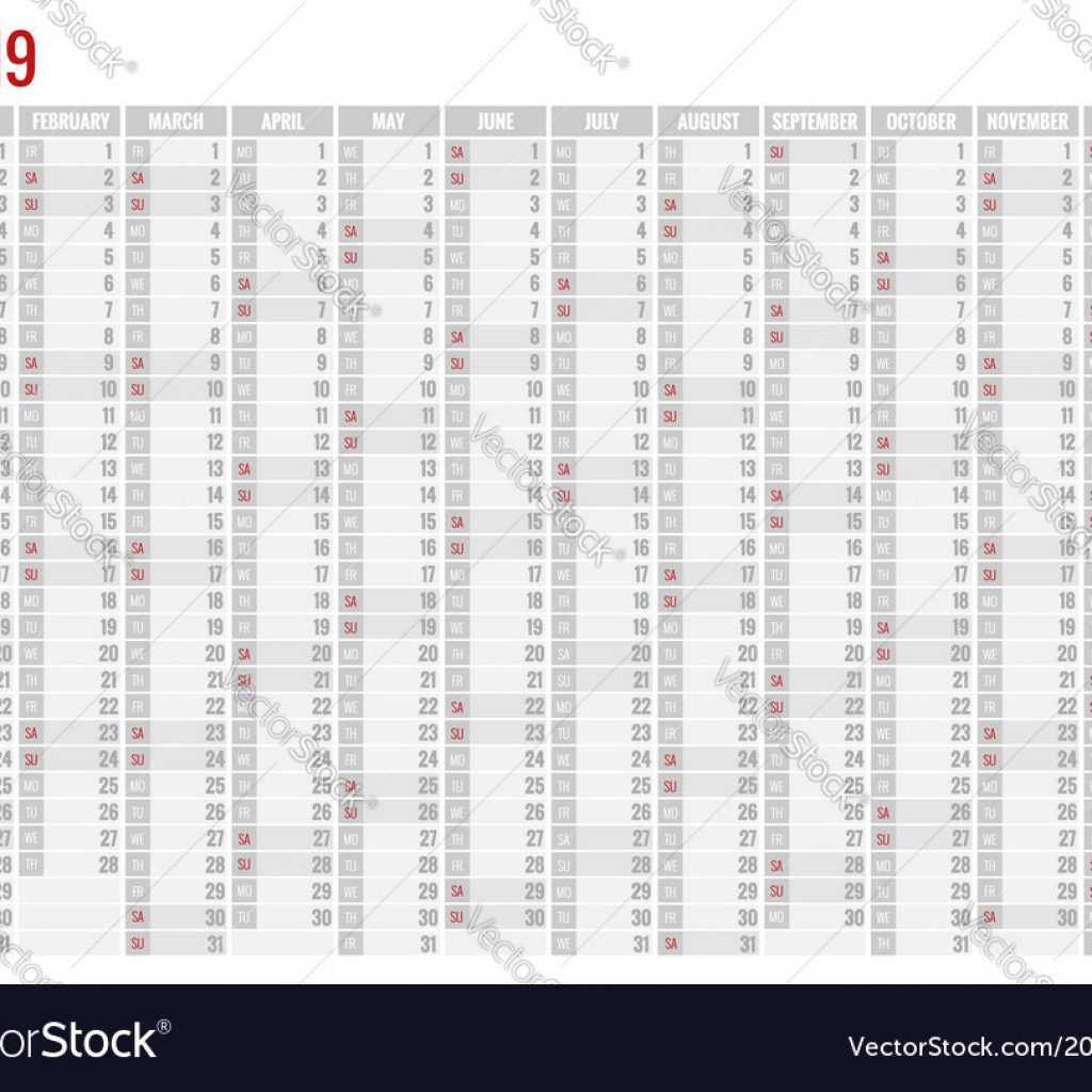 2019 Year Planner Calendar With For Stationery Vector Image