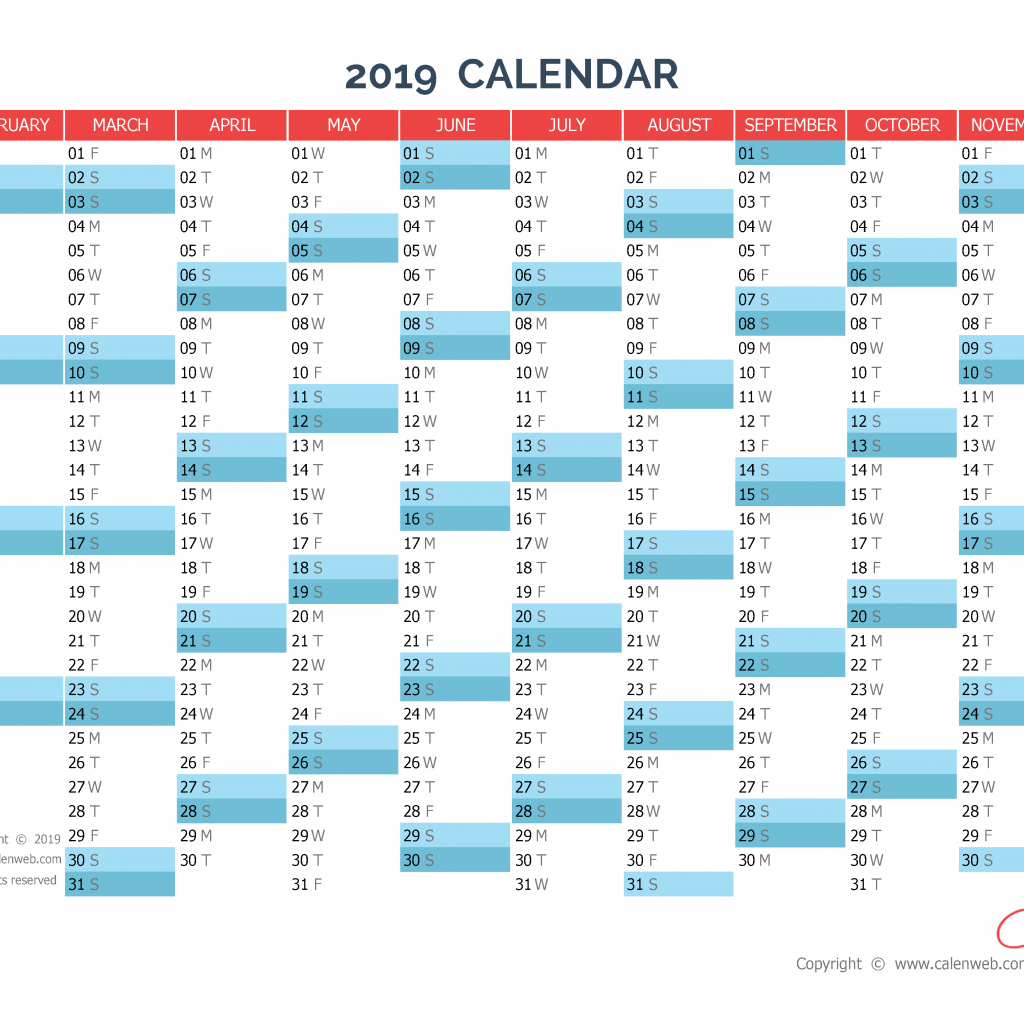 2019 Year Planner Calendar With Yearly Horizontal Planning Calenweb Com