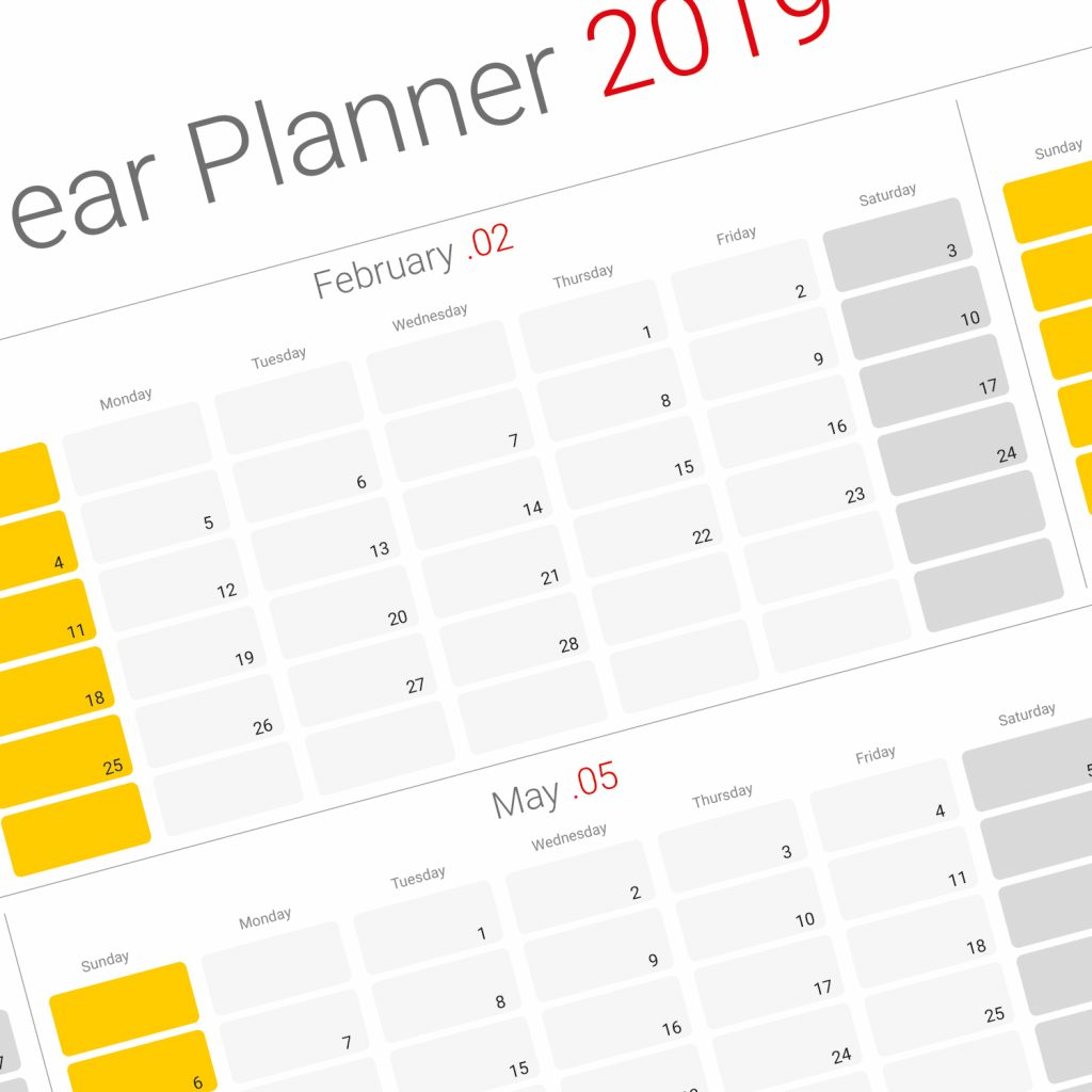 2019 Year Planner Calendar With Yearly Template Modern Design Printable PDF