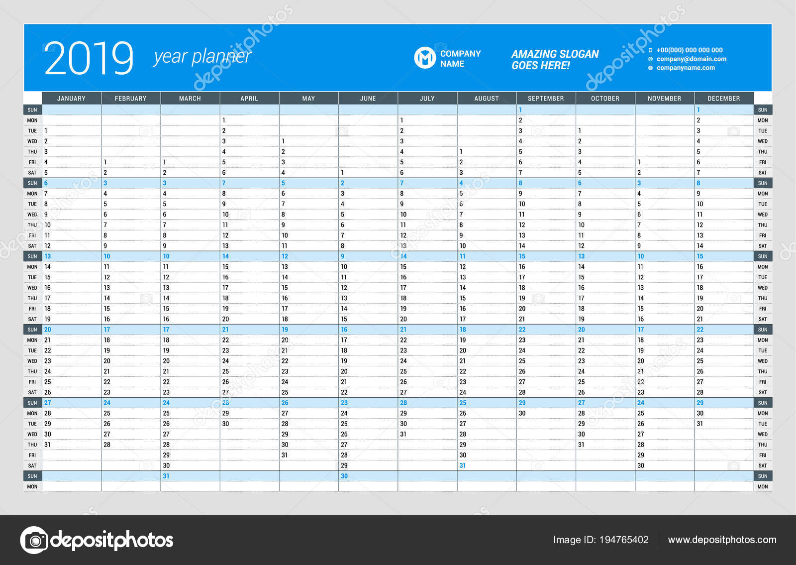 2019 Year Planner Calendar With Yearly Wall Template For Vector Design