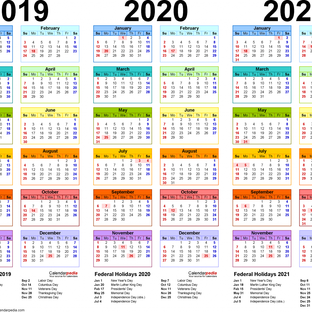 2019 Year To Page Calendar With 2020 2021 4 Three Printable PDF Calendars