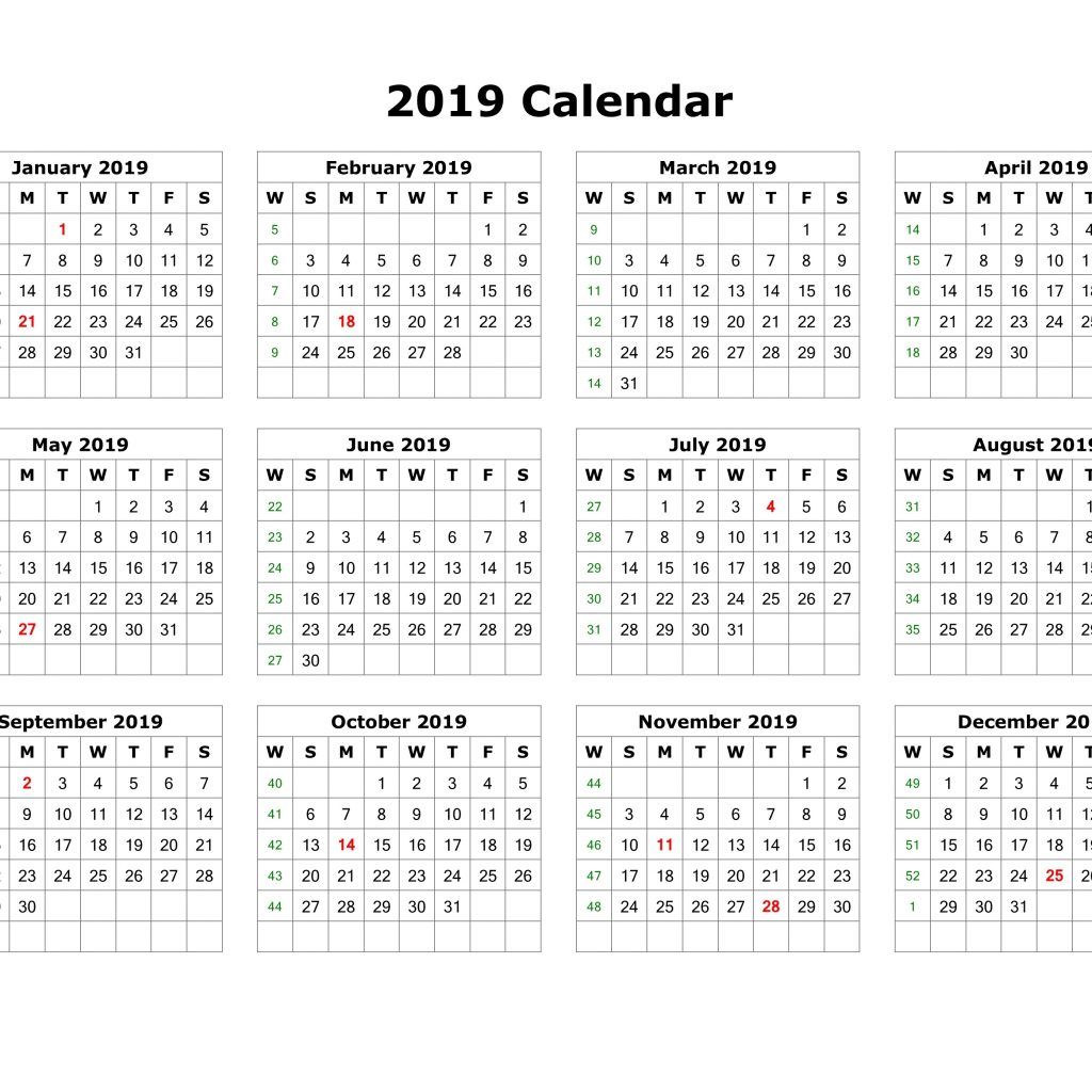 2019 Year To Page Calendar With Get Free Printable One Template Download