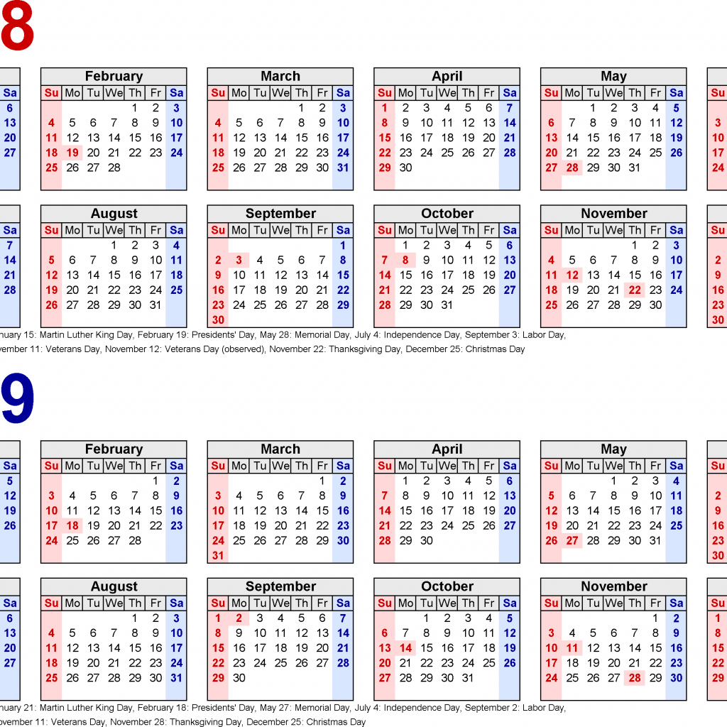 2019 Year To View Calendar With 2018 Free Printable Two PDF Calendars