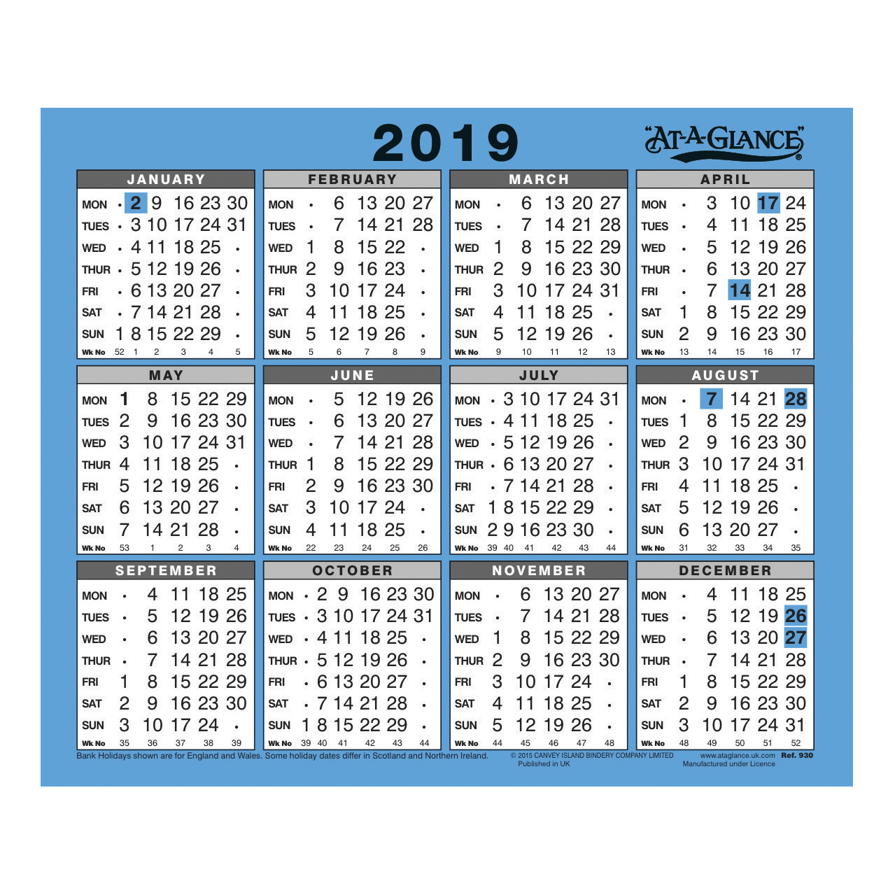 2019 Year To View Calendar With At A Glance Wall Desk Gloss Board Binding
