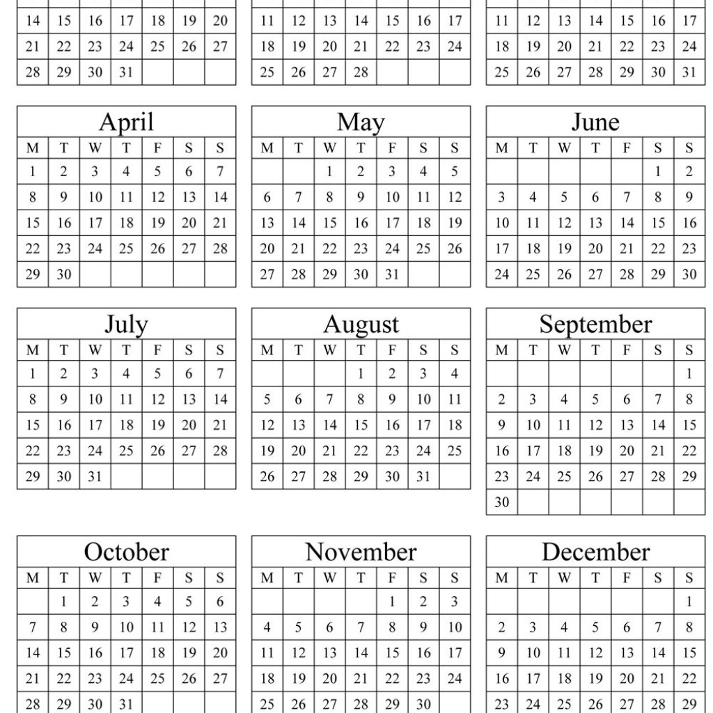 2019 Year To View Calendar With Printable Annual Portrait
