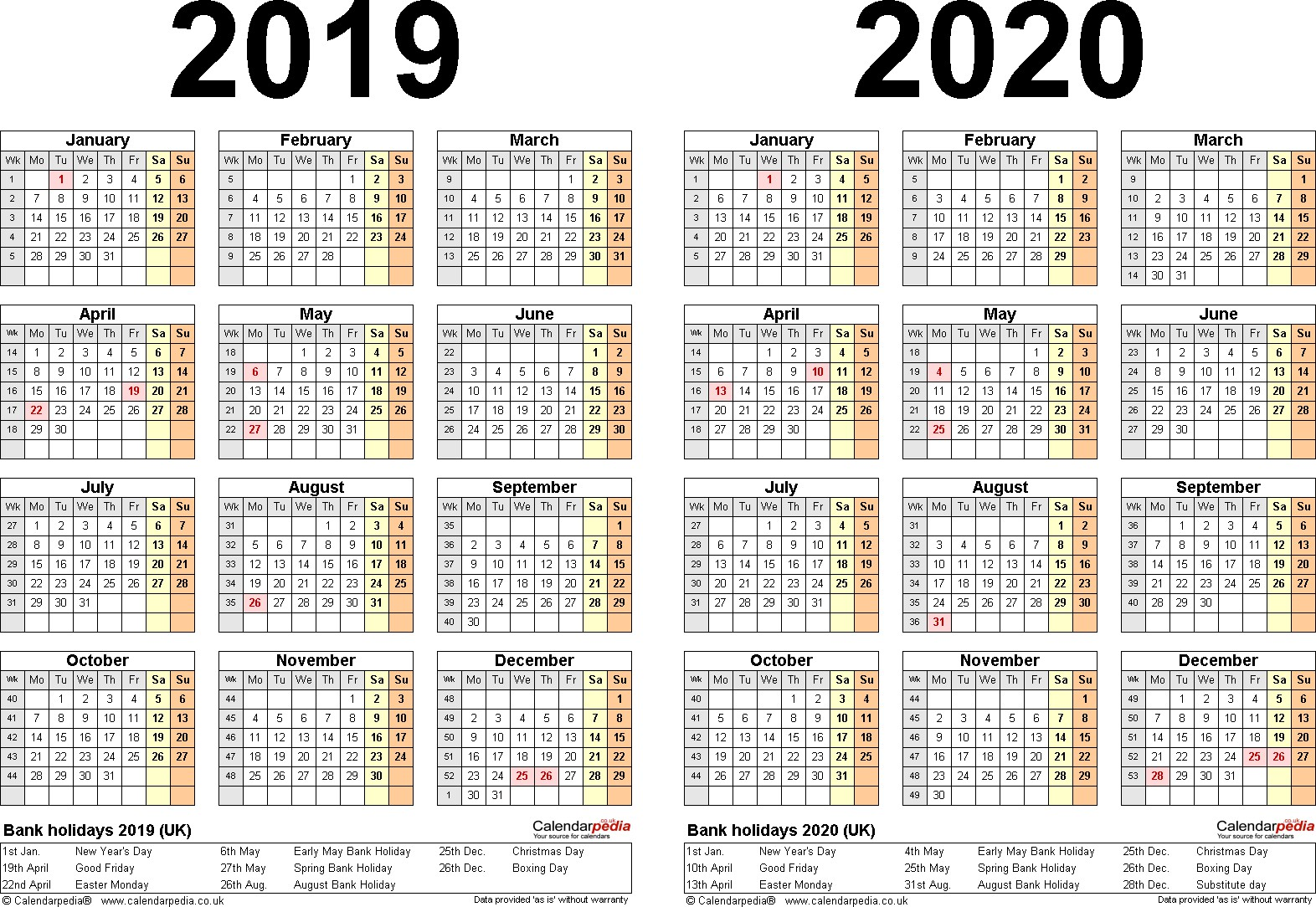 2019 Year To View Calendar With Printable Two Calendars For