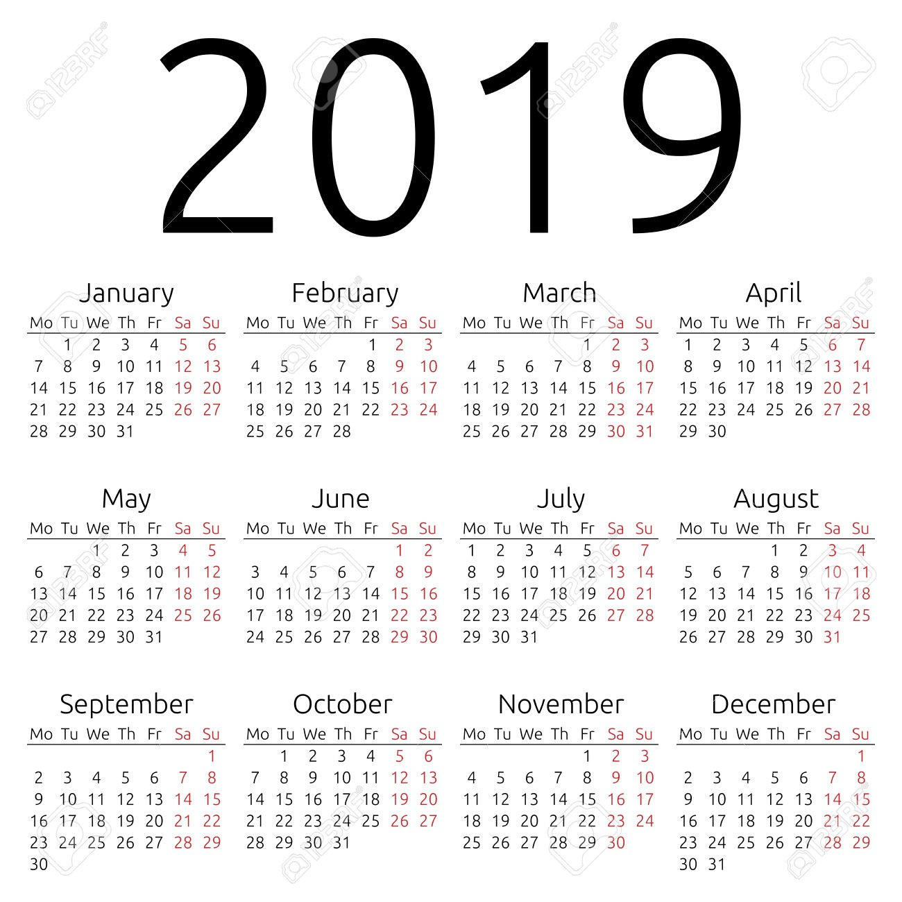 2019 Year To View Calendar With Printable Yearly