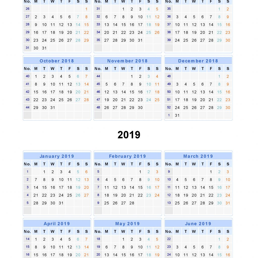 2019 Year To View Calendar With Split Calendars 2018 From July June