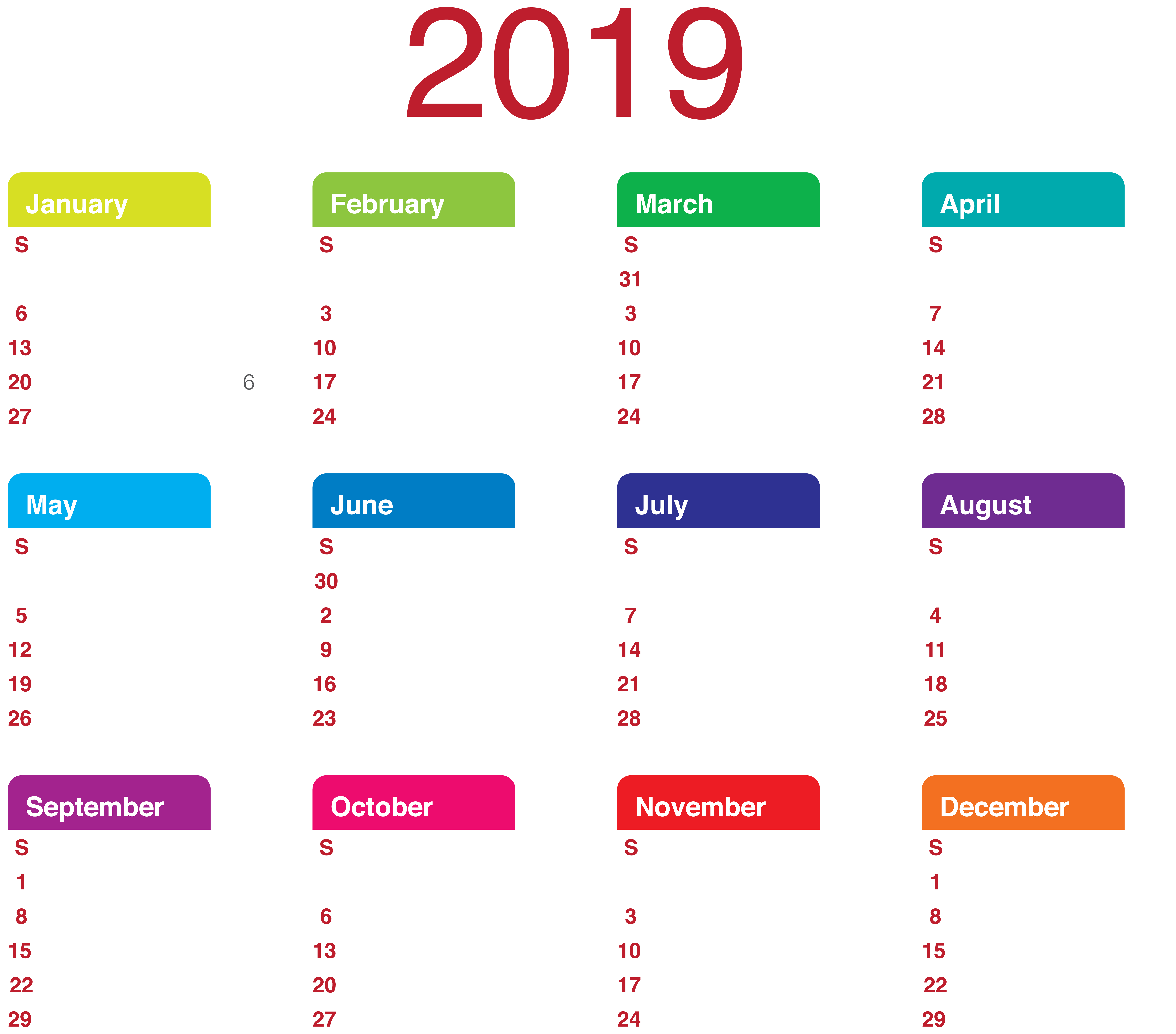 2019 Year To View Calendar With Transparent PNG Clip Art Gallery Yopriceville