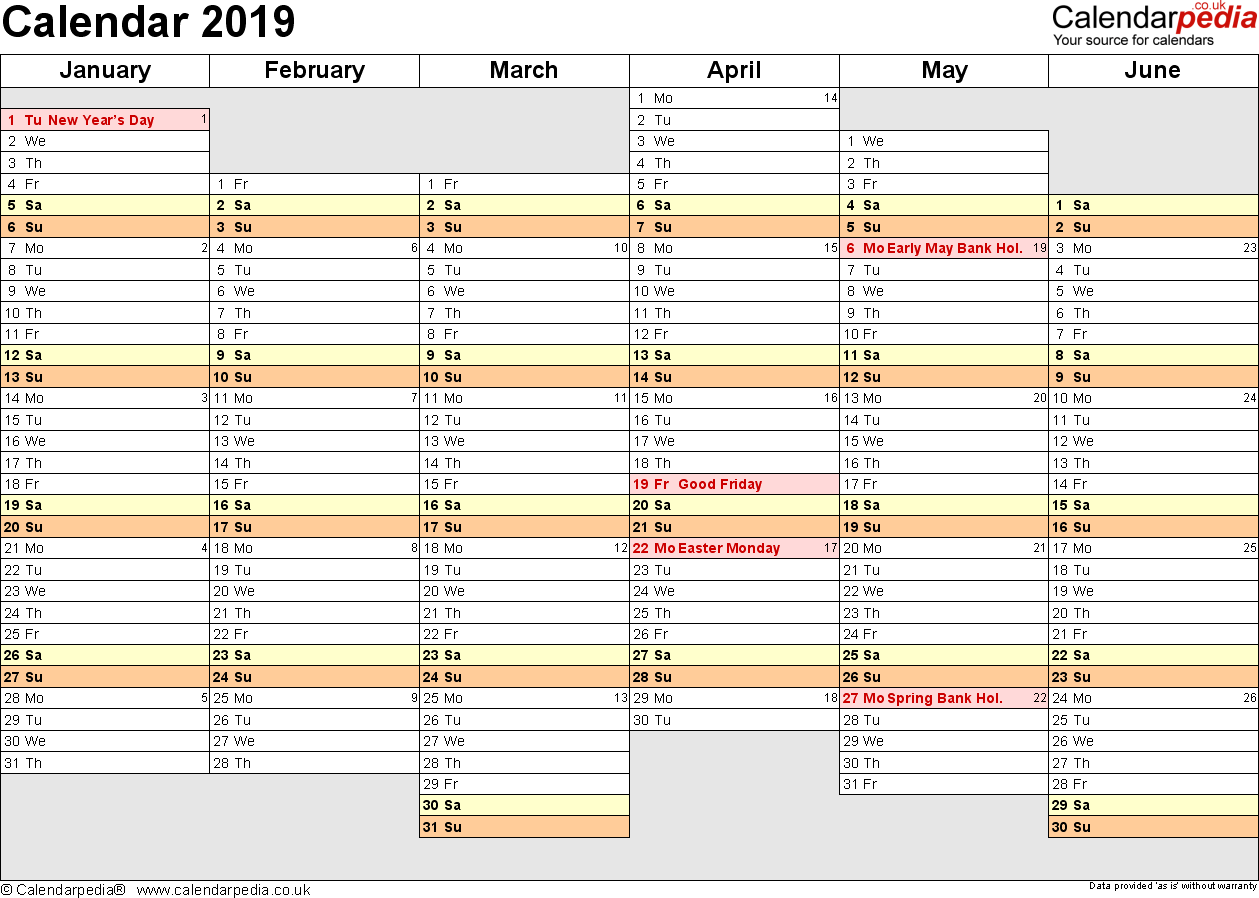 2019 Year To View Calendar With UK 16 Free Printable PDF Templates