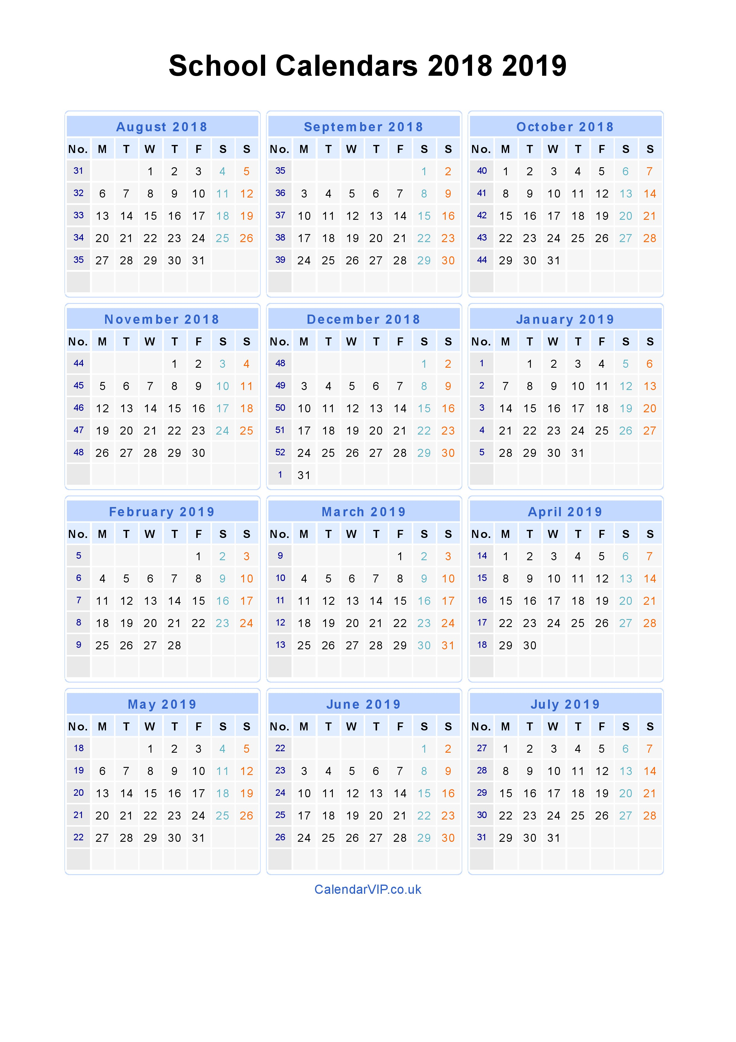 2019 Year View Calendar With School Calendars 2018 From August To July