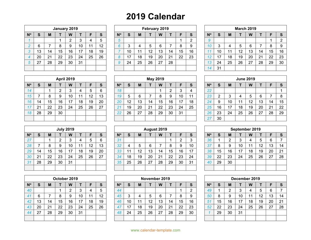 2019 Year View Calendar With Template On One Page