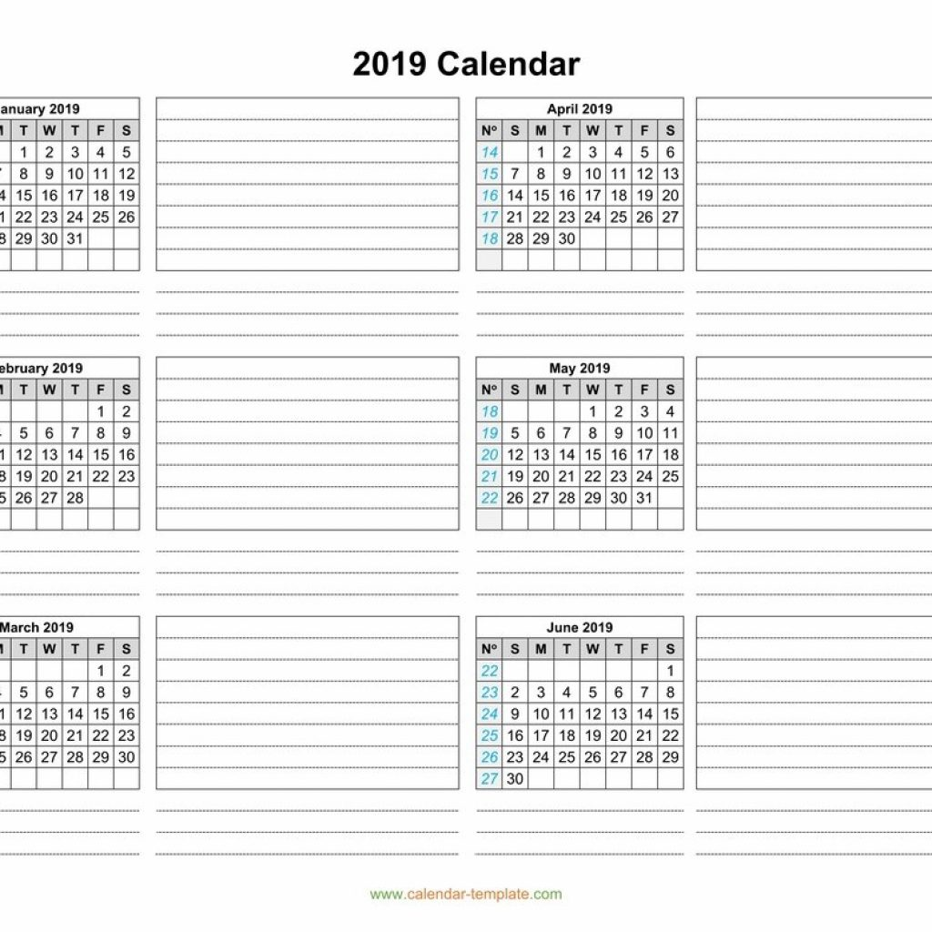 2019 Year View Calendar With Template Six Months Per Page