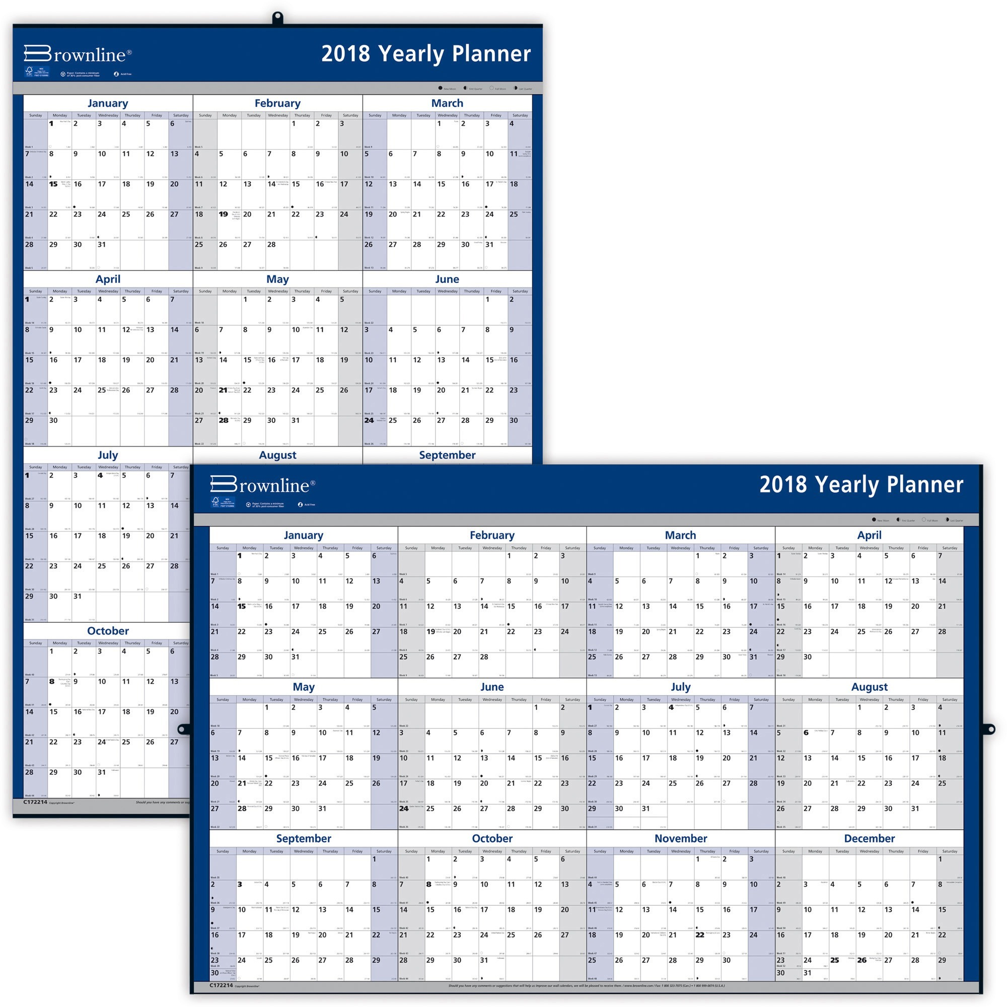 2019 Year Wall Calendar With Brownline Yearly Madill The Office Company
