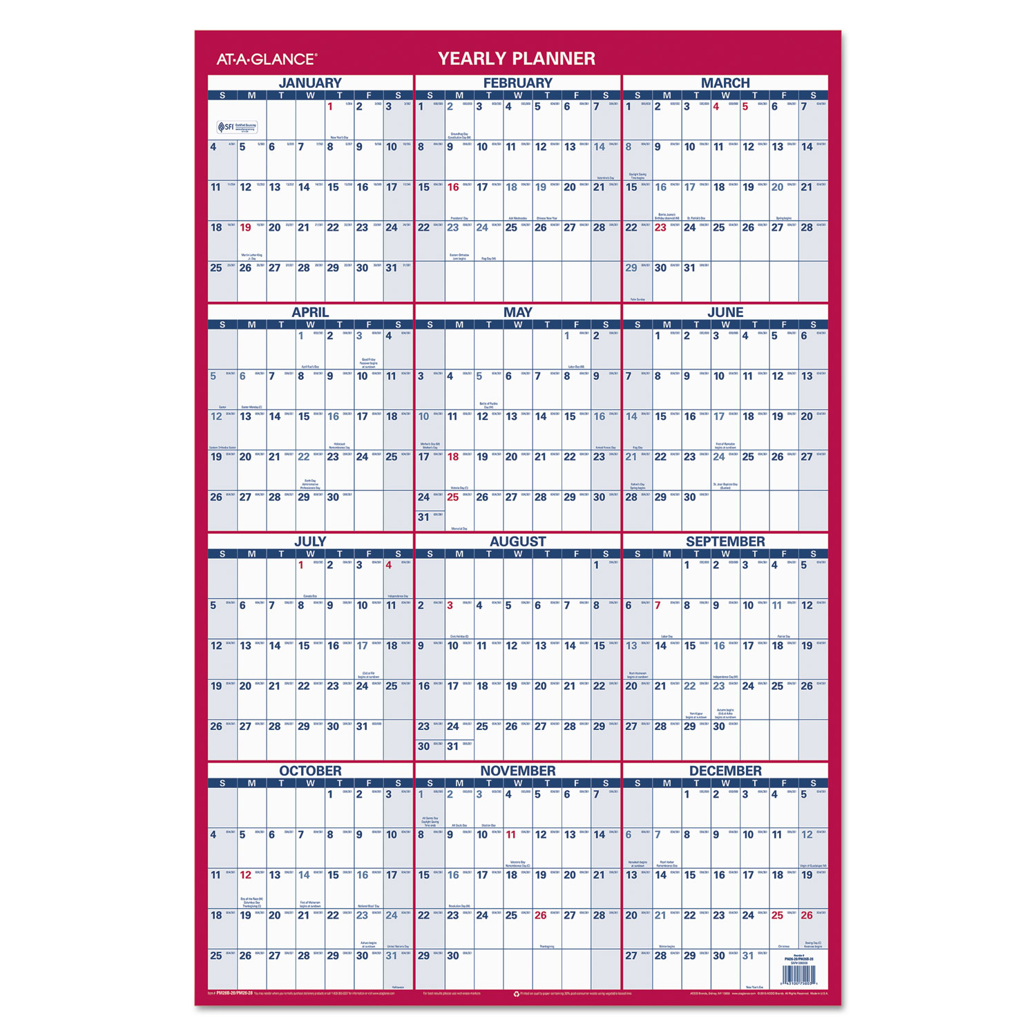 2019 Year Wall Calendar With Erasable Vertical Horizontal Planner By AT A GLANCE AAGPM2628