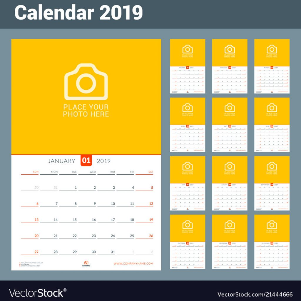 2019 Year Wall Calendar With For Design Print Template Vector Image