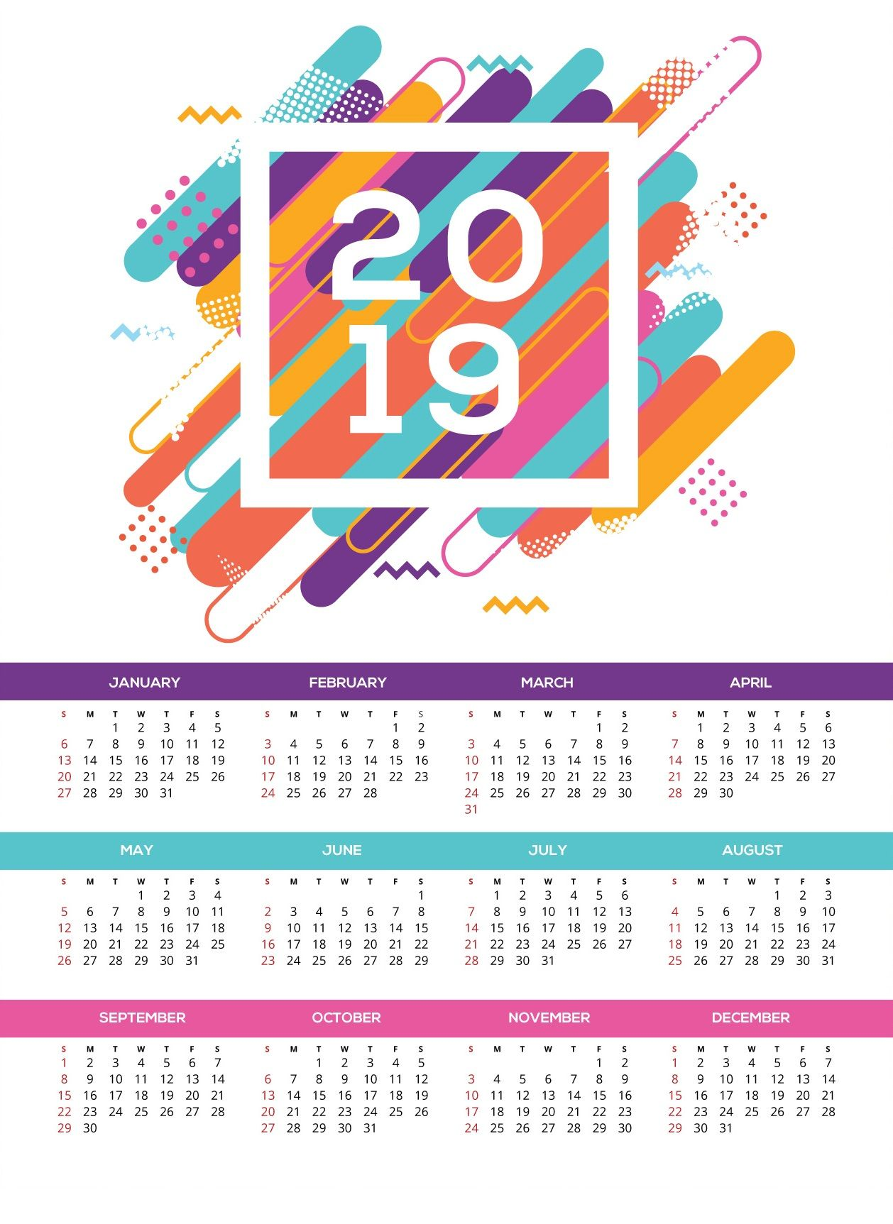 2019 Year Wall Calendar With Printable HD Monthly Templates