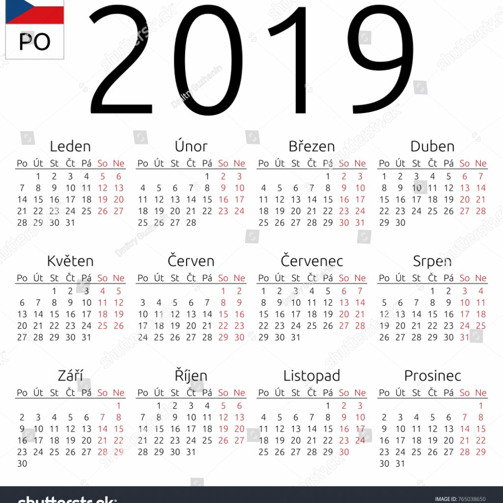 2019 Year Wall Calendar With Simple Annual Stock Vector Royalty Free